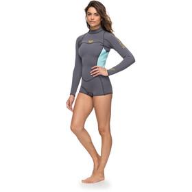 Roxy 2/2 Syncro Series Spring FLT Traje de neopreno corto de manga larga con cremallera en la espalda Mujer, deep grey/glicer blue